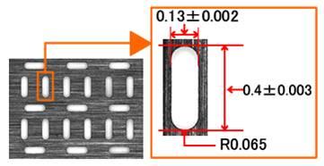 t0.5の超鋼材へのコーナR0.065の角孔連続加工