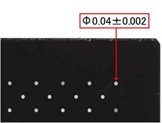 t0.3のSKD11への微細放電孔加工