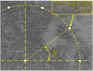 t0.5の超鋼材への微細放電孔加工